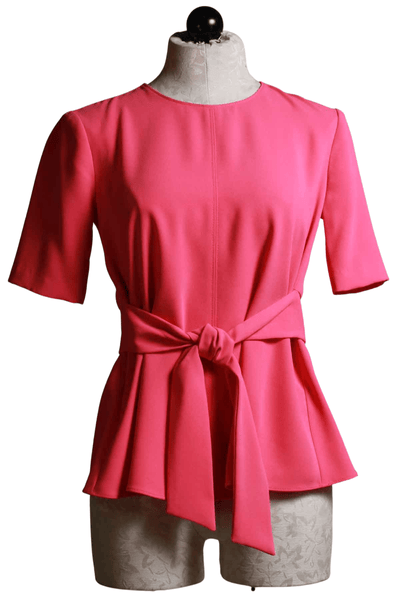 watermelon colored elbow length top with the front tie sash