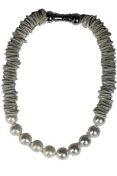 silver with mother of pearl Piano wire magnetic clasped necklace with large mother pearls