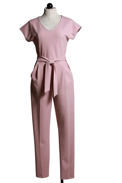 blush colored V neck cap sleeve jumpsuit by Frank Lyman