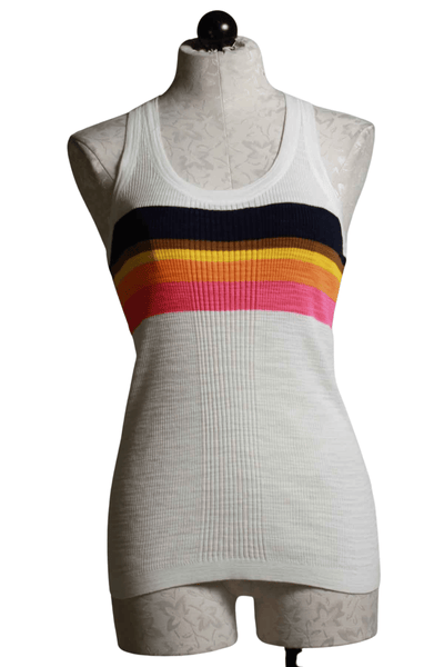 ribbed, racer back Whitewash tank with black, brown, yellow, orange and pink striping across the chest and around the back