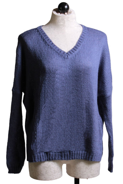 V neck sweater in Indigo Coast blue by Wooden Ships