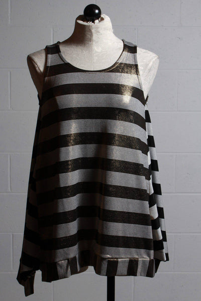 A line Gold White Metallic striped tank top with Black White striped side panels