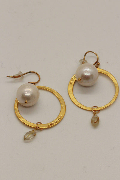 Chan Luu Disc Earrings White Pearl EG-5095 - Inspire Me