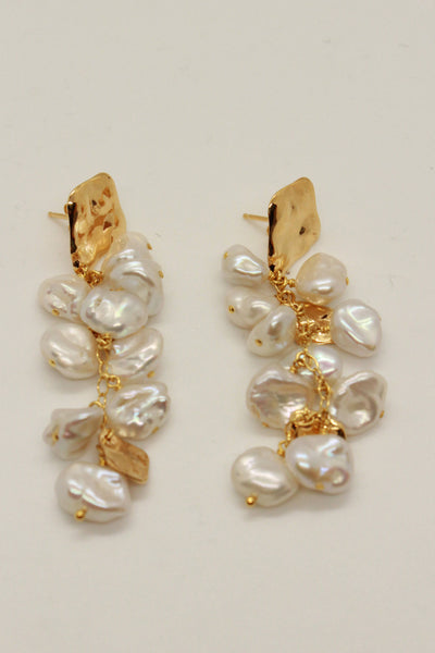 Chan Luu Gold Post Earrings with Cascading Pearls White Pearl EG-5262 - Inspire Me