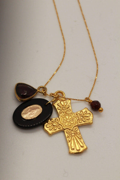 Delicate gold Adjustable chain Necklace with a gold Cross, oval with gold Madonna metal and a stone charm.