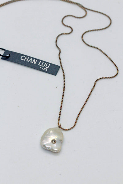 Chan Luu Sterling Silver Necklace White Pearl NSF-13054 - Inspire Me