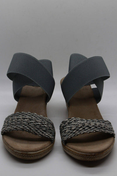 Ankle wrapped faux espadrille sandal in gray with a beautiful braided strap across the toes