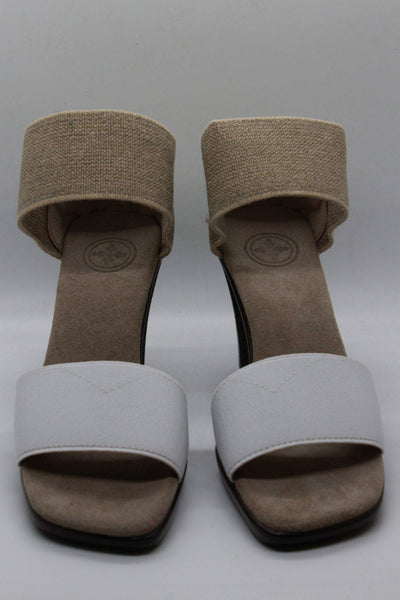 "White and linen cocktail sandal by Charleston Shoes with a 3 1/2"" heel and a wide stretch upper toe band and ankle straps with a closed back"