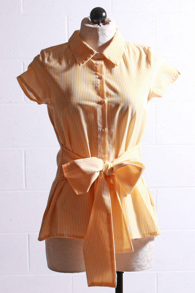 Compania Fantastica Bow Front Blouse Yellow White SP20SAM81 - Inspire Me