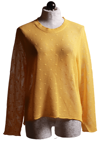 Slight hi lo Open Weave textured Sweater by Compania Fantastica in Yellow