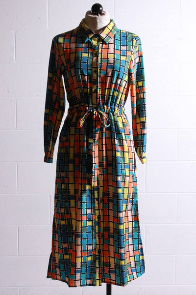 shirt style drawstring waist dress by Compania Fantastica in a beautiful blue multi mosaic print