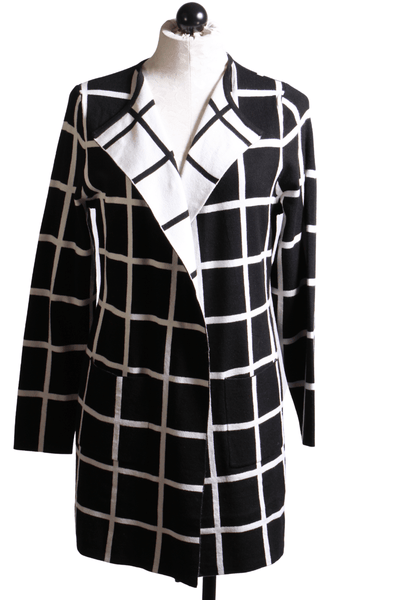 Elena Wang Windowpane Cardigan Black White EW25048 - Inspire Me