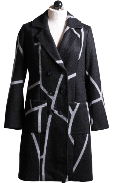 Elena Wang Striped Coat Grey White A36322B - Inspire Me