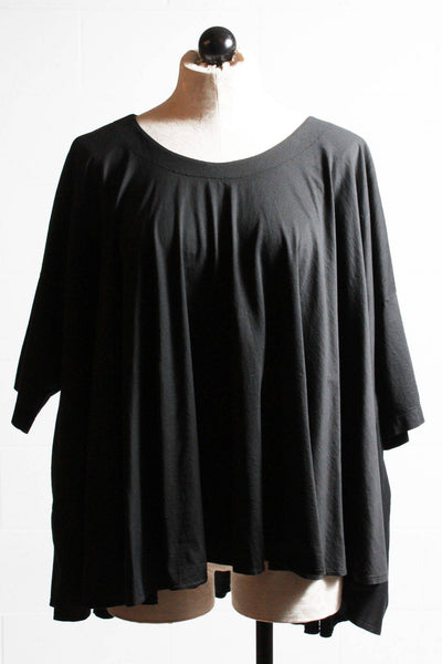 Black, short sleeved, wide circle cut T-shirt by European Culture