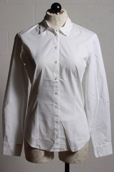 Classic white fitted blouse by European Culture with a curved hem and matching white buttons