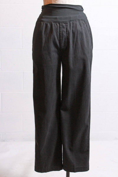 Pull-on washed black wide leg pant with side pockets by European Culture with a high waistband