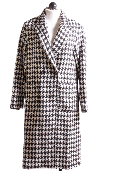 European Culture Houndstooth Coat Black White 75Y00843 - Inspire Me