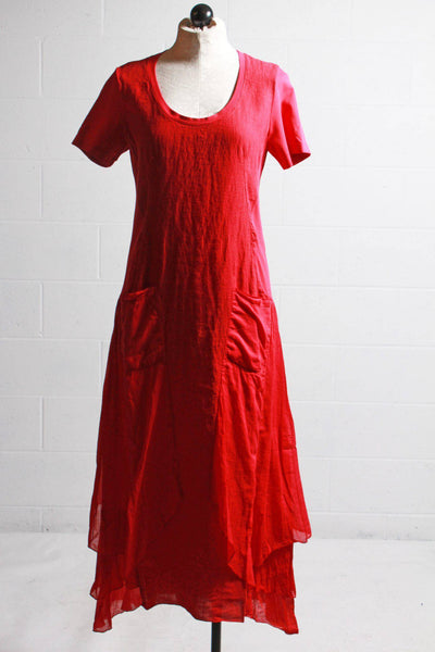 Short Sleeve, crimson colored long dress with different textured side panels, large front pockets and side ruffles by European Culture