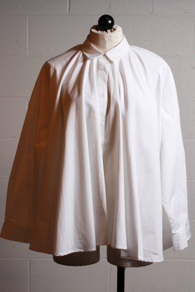 White cotton button up circle blouse by European Culture