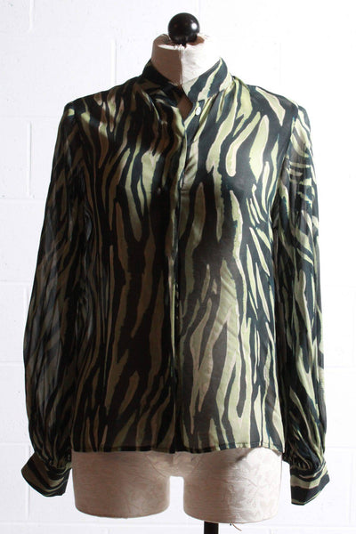 black and green tiger print blouse by Fifteen Twenty with blouson sleeves