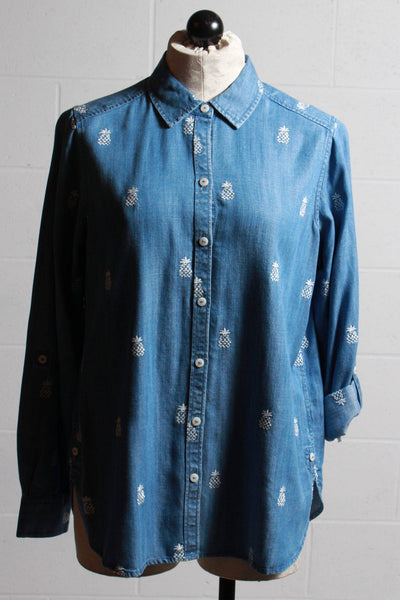 Embroidered Pineapple long sleeved button up denim top by Foxcroft.