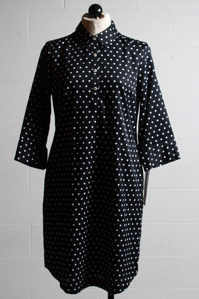 Wrinkle Free 3/4 sleeve polka dot dress in black and white by Foxcroft
