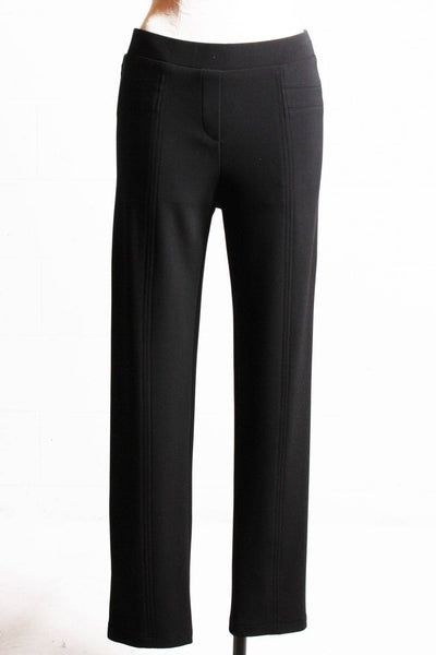 Clean looking and very comfortable black straight leg, elastic waist pant with seaming detail down the front