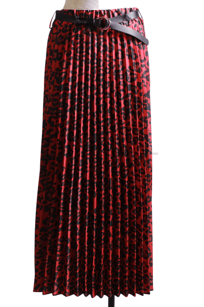 Frank Lyman Leopard Pleated Skirt Red Black 203495 - Inspire Me