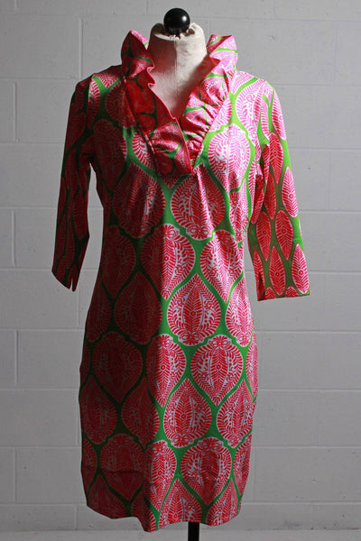 Vibrant Pink/Green floral Indian summer patterned, 3/4 length sleeved, ruffle neck dress by Gretchen Scott