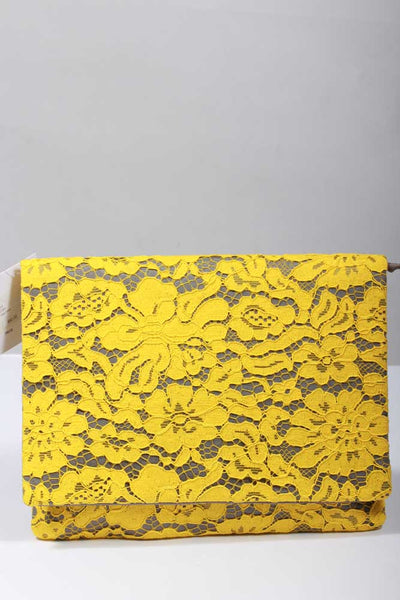 Inzi Handbags Yellow Lace Clutch U7257 - Inspire Me