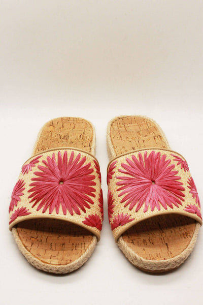 braided jute cork sole slides by Jack Rogers with pink hand woven rondelle flowers.