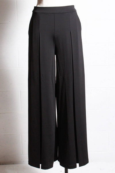 Black wide leg pant with a front pleat down the leg