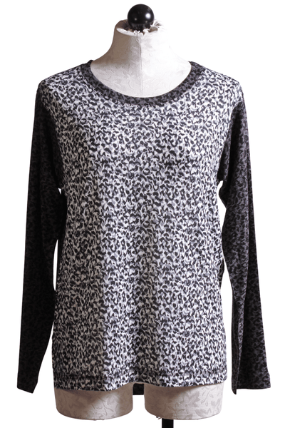 Nally and Millie Animal Contrast Top Black Grey N623668B - Inspire Me