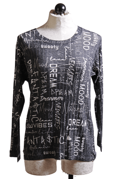 Nally and Millie Printed Words Top Black White N702100D - Inspire Me