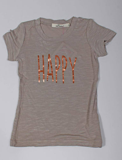 "grey, short sleeved, T-shirt says ""Happy"" on the front in shiny rose gold lettering"