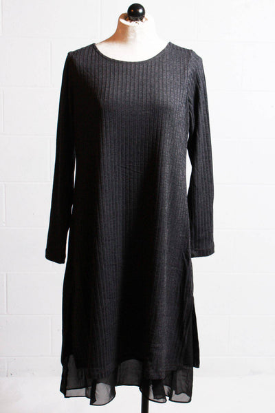 long sleeve gray ribbed tank dress by Patrizia Luca with a sheer black layering slip hanging below