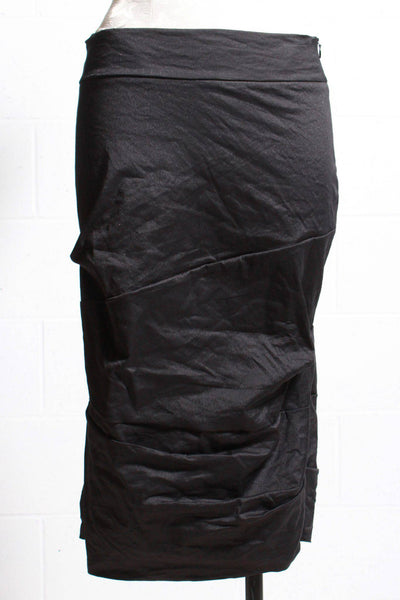 over the knee ruched skirt by Porto in a light shimmering black metallic-like stretch fabric