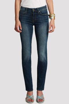 Mid Rise straight leg jeans by Principle Denim are in a dark wash with light distressing on the front thighs to the knees.