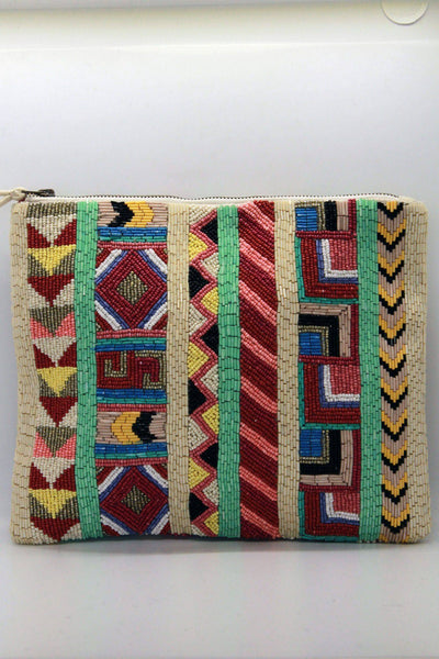 Beautiful embellished clutch by Star Mela in an artisanal beaded aztec pattern