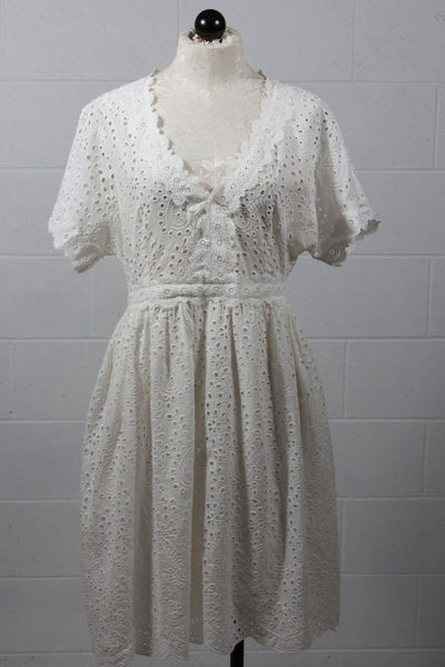 The Korner Eyelet Dress White 9124157 - Inspire Me