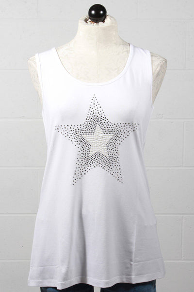 Long white tank by Tricotto with a large crystal and pearl star embellished on the front