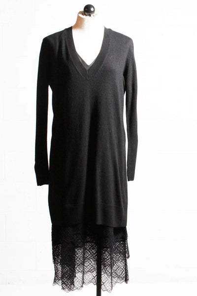 Twinset Sweater Dress with Long Lace Slip Black 192TT3084 - Inspire Me