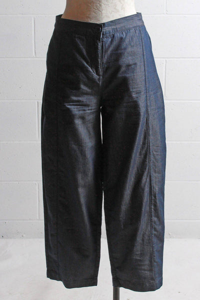 Comfortable and Baggy style cotton tencel ankle pants in a dark denim wash by Two Danes