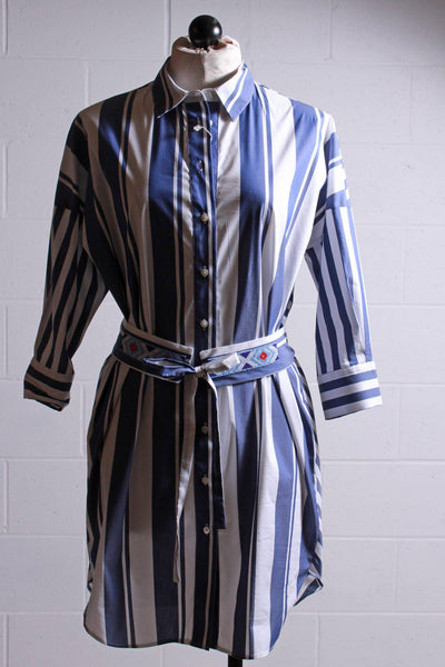 Wide blue striped front tunic shirt dress by Vilagallo with a thinner chevron angle striped back with a shirttail hemline