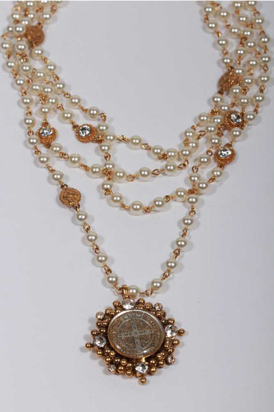 Virgin Saints and Angels San Benito Magdalena Necklace Pearl M:CCP6-bg-b66-a1 - Inspire Me