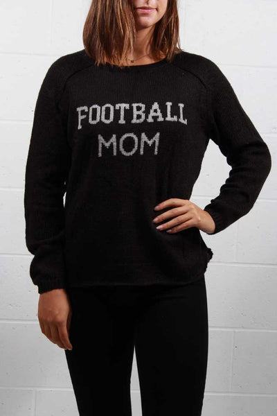 Wooden Ships Football Mom Crewneck Sweater Black/Nickle K41Y4W825 - Inspire Me