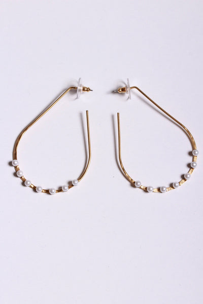 Yochi Oval Earrings Gold Pearl EP1722 - Inspire Me