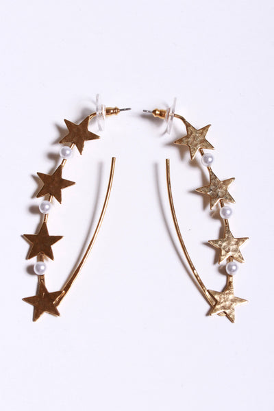 Yochi Star V Shape Earring Gold Pearl EP1774 - Inspire Me