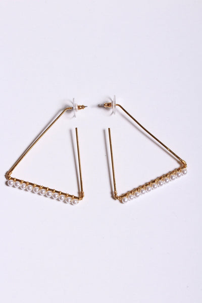 Yochi Triangle Shape Earring Gold Pearl EP1645 - Inspire Me