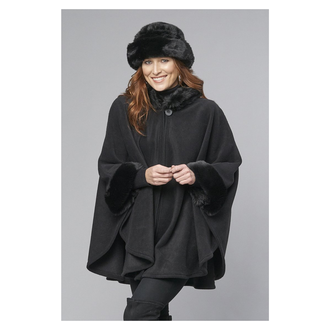 Parkhurst - Desmona Fleece Cape with Faux Fur Trim